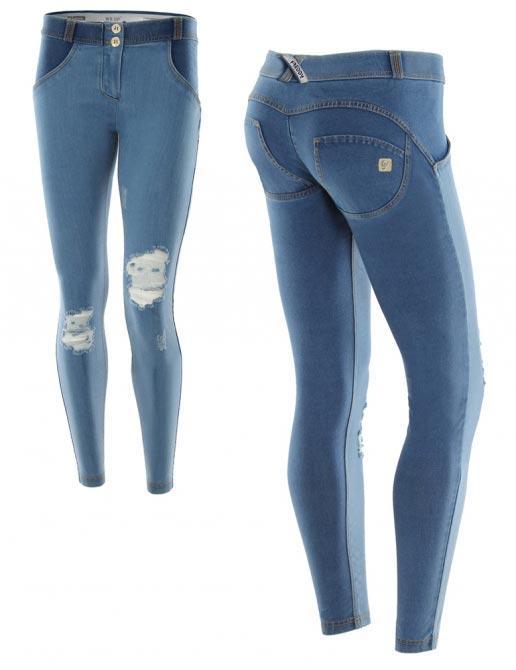 Freddy jeans světle modré, potrhané, skinny střih