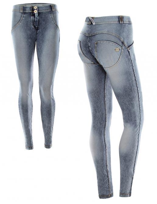 Freddy jeans šedé, seprané, nízký pas, 2017