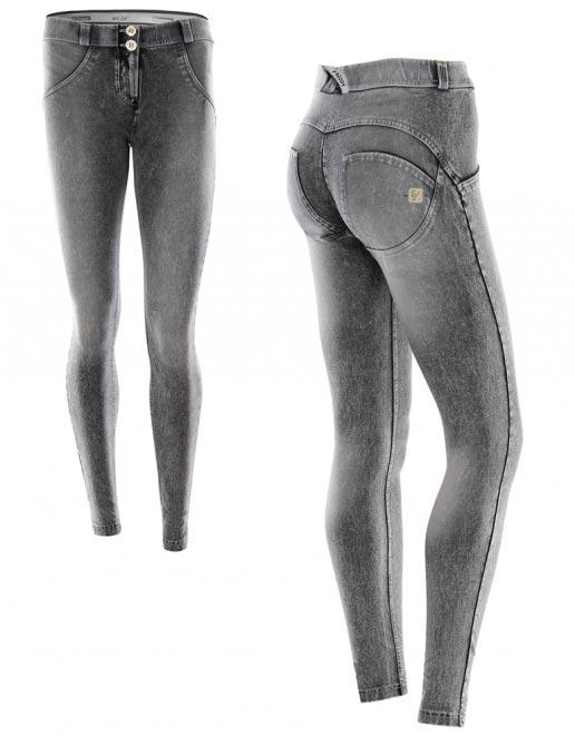 Freddy jeans šedé, seprané, normální pas, 2017