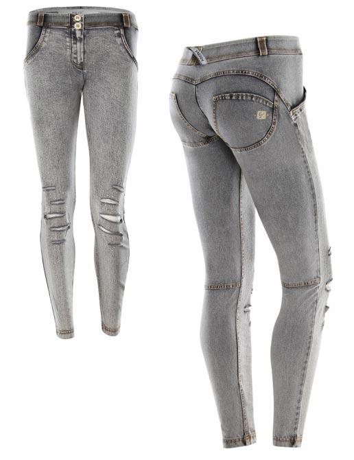 Freddy jeans šedé potrhané s krystaly, skinny střih