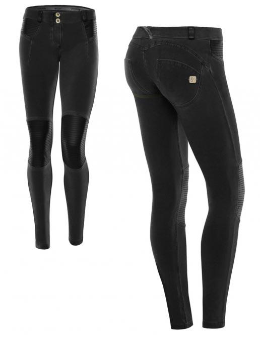 Freddy kalhoty černé, kožené prvky