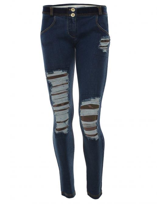 Freddy jeans modré potrhané s maskáčemi, normální pas