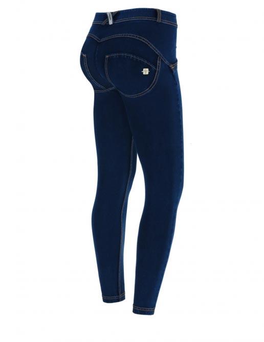 Freddy jeans černé, žlutý šev, super skinny, 7/8 střih