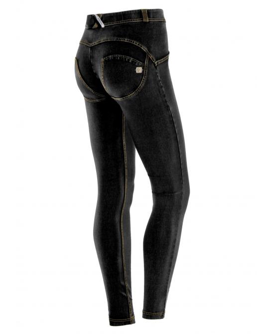 Freddy jeans černé, žlutý šev, normální pas